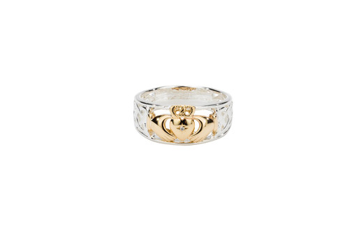"""Sterling Silver + 10k Gold """"Claddagh Diamond"""" (1mm) Set Heart (Tapered)"""