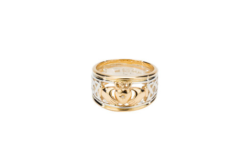 """Sterling Silver + 10k Gold """"Claddagh Stack"""" Diamond (1mm) Set Heart & Gold Rails (Tapered)"""