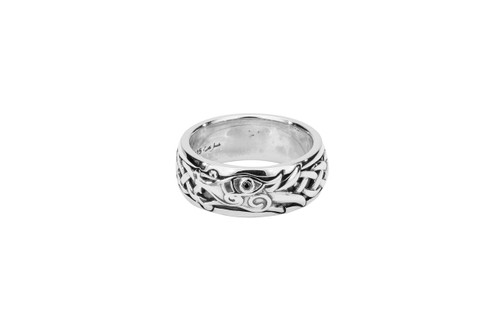 Sterling Silver Oxidized Black Cubic Zirconia Dragon Ring