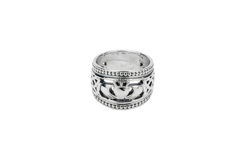 """Sterling Silver Oxidized """"Shield"""" Claddagh with Beaded rails (Tapered)"""