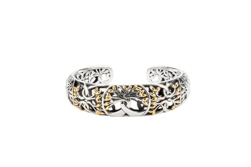 Sterling Silver + 18k Gold Tree of Life Bangle