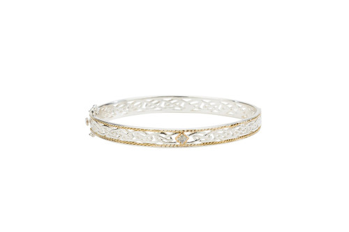 Sterling Silver + 10k Gold Diamond TW 0.06ct Window to The Soul Bangle