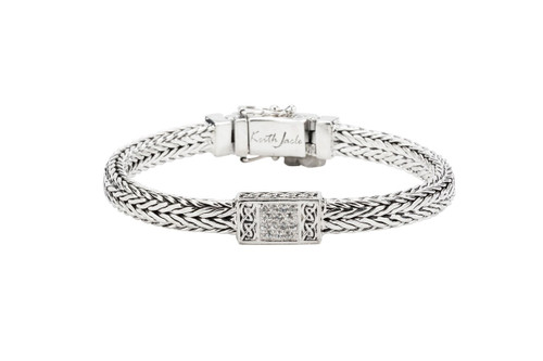 Sterling Silver Dragon Weave with White Sapphire Bracelet