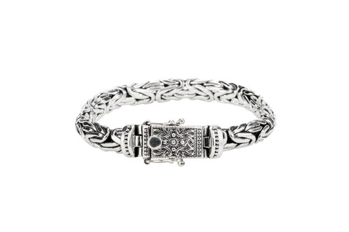 Sterling Silver Round Dragon Weave Bracelet with Beaded Clasp