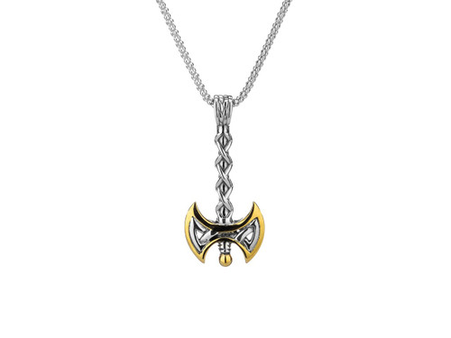Sterling Silver + 10K Gold Axe Double Sided Pendant