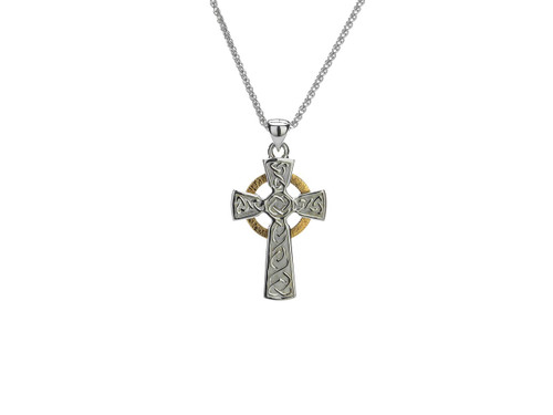Sterling Silver + 10K Gold Circle Cross Small Pendant