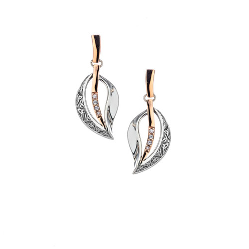 Sterling Silver Oxidized + 10k Gold Rose White Sapphire Trinity Leaf Post Earrings