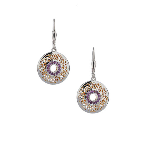 Sterling Silver + 22k Gilded Window To The Soul Amethyst Round Leverback Earrings