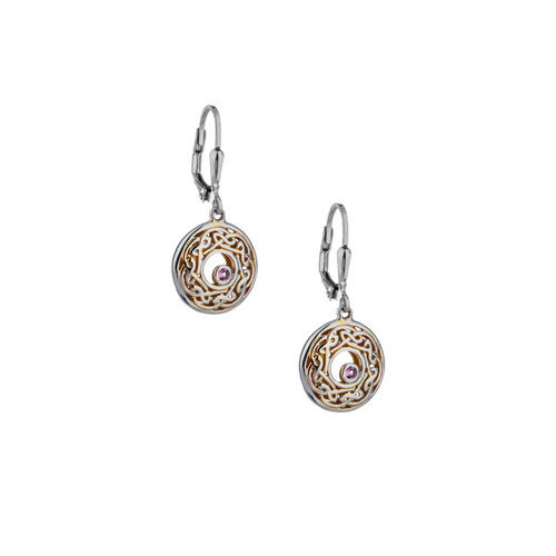Sterling Silver + 22k Gilded Window to the Soul Rhodolite (2mm) Round Leverback Earrings