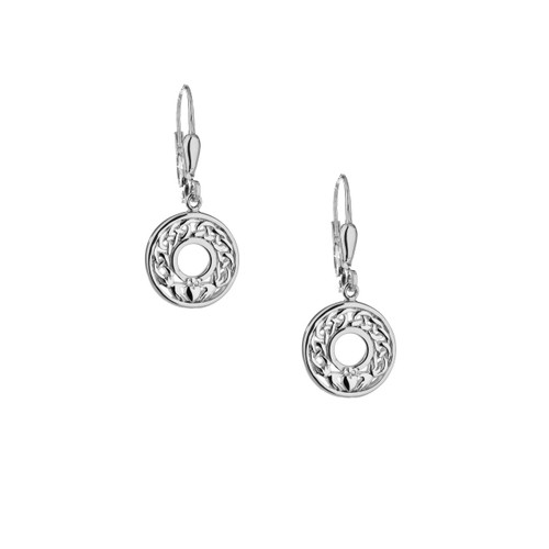 Sterling Silver Claddagh Leverback Earrings