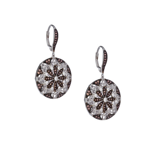 Sterling Silver Rhodium + Cubic Zirconia Night & Day Round Leverback Earrings