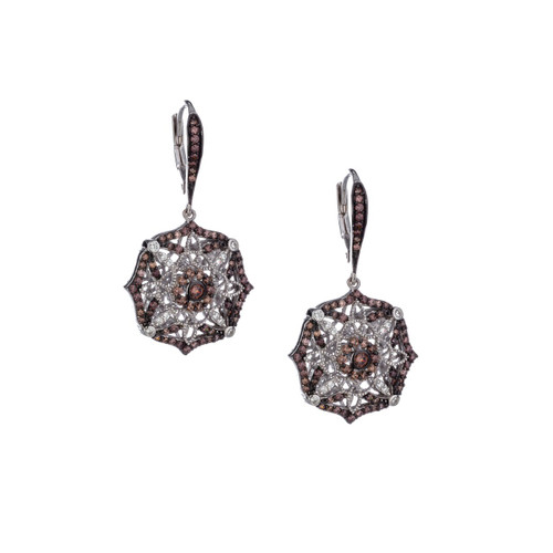 Sterling Silver Rhodium + Cubic Zirconia Night & Day Scalloped Leverback Earrings