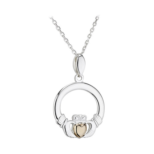 S/S & 10K Claddagh Necklace With Gold Heart