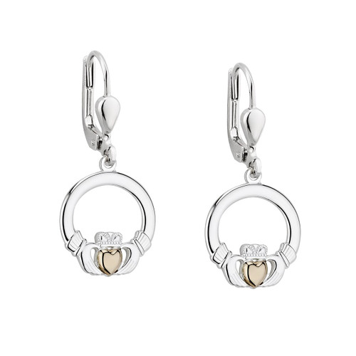 S/S & 10K Claddagh Drop Earrings With Gold Heart