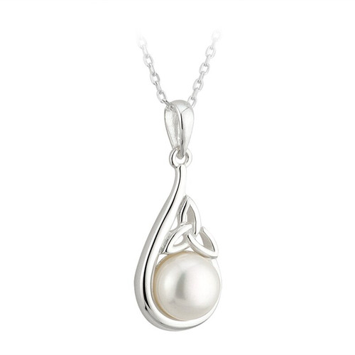 S/S Fresh Water Pearl Trinity Knot Pendant