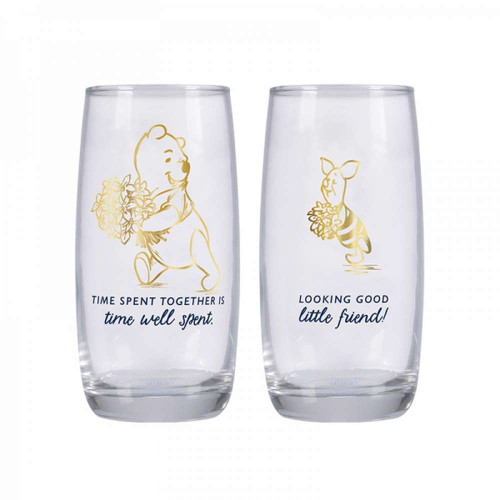 Winnie The Pooh And Piglet Set Of 2 Drinking Glasses