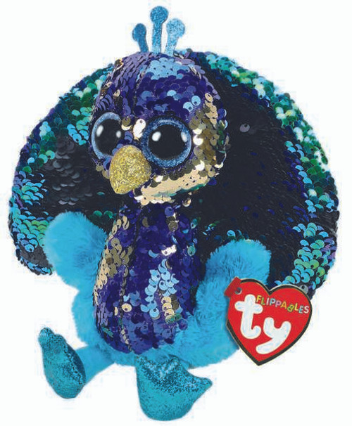 TY Flippables Beanie Babies  Tyson Peacock Soft Toy