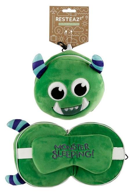 Green Monstarz Travel Pillow and Eye Mask