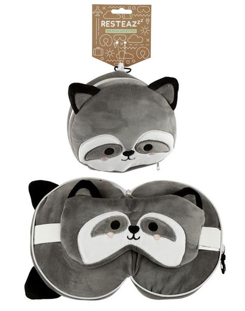 Cutiemals Racoon Travel Pillow and Eye Mask