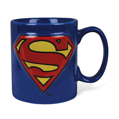 Superman 14oz Blue Embossed Logo Mug