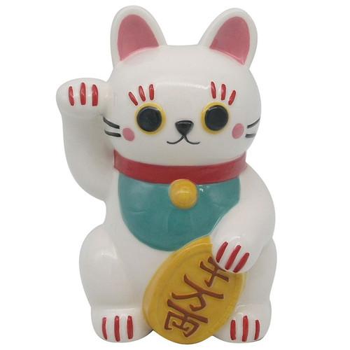 White Maneki Neko Ceramic Money Box