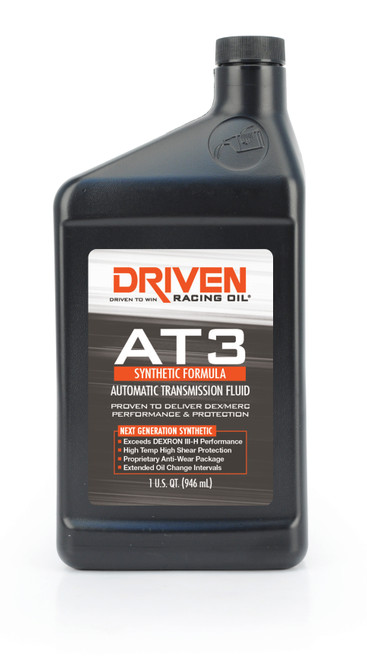 Transmission Fluid, AT3, Automatic, Synthetic, 1 qt, Each  JGP04706 Driven Racing Oil