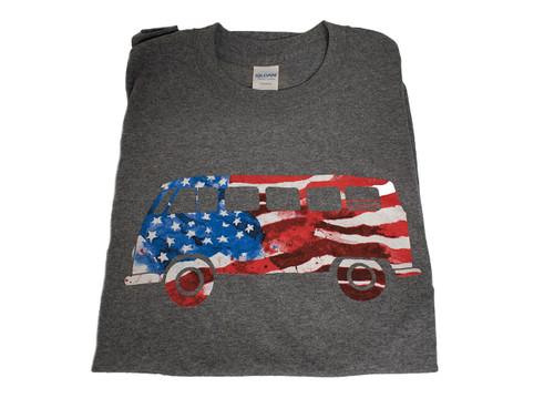 VW T-Shirt - American Flag Bus