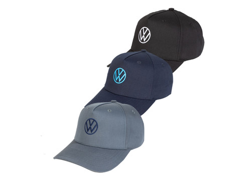VW Twill Baseball Hats - Black, Blue and Grey