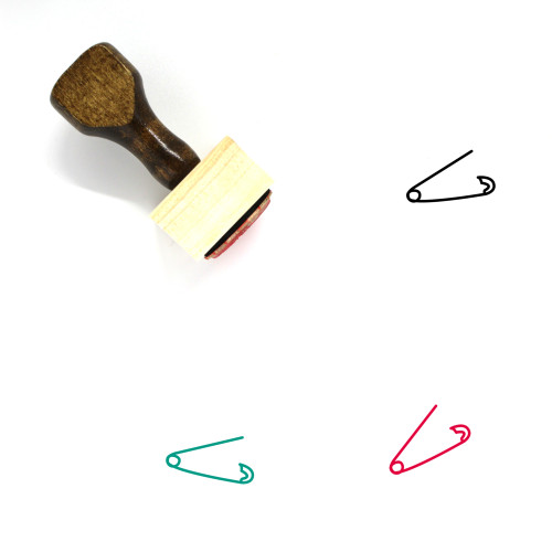 Safety Pin Wooden Rubber Stamp No. 2