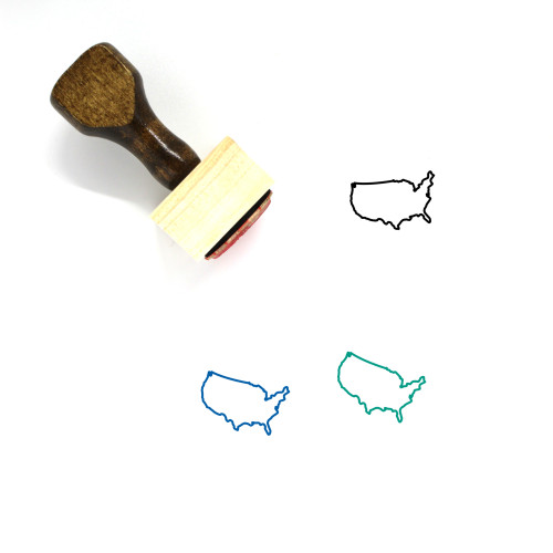 United States Map Wooden Rubber Stamp No. 7