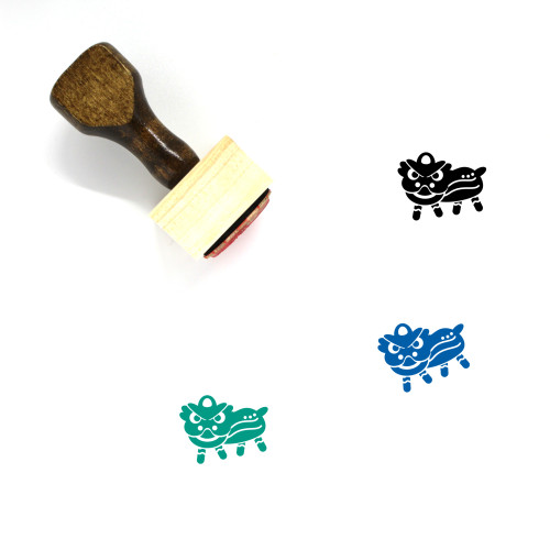 Lion Dance Wooden Rubber Stamp No. 3