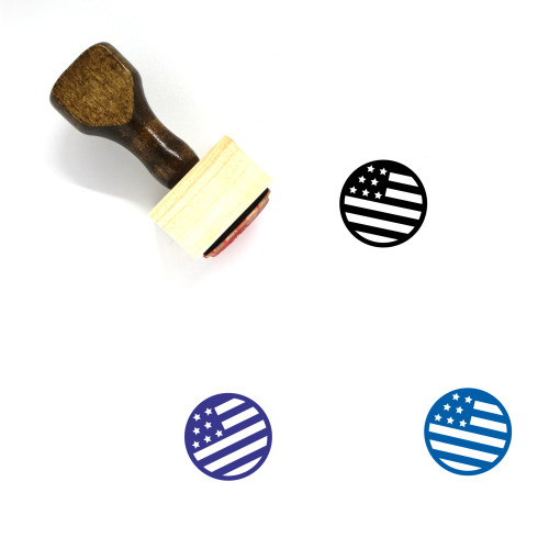 North American Flag Wooden Rubber Stamp No. 2