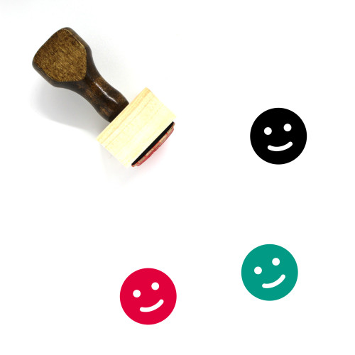 Happy Face Wooden Rubber Stamp No. 3