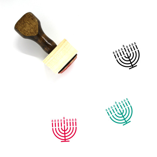 Menorah Wooden Rubber Stamp No. 52