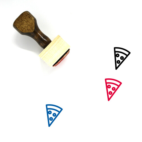 Pizza Slice Wooden Rubber Stamp No. 2