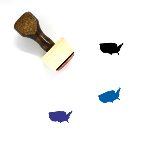 United States Map Wooden Rubber Stamp No. 10