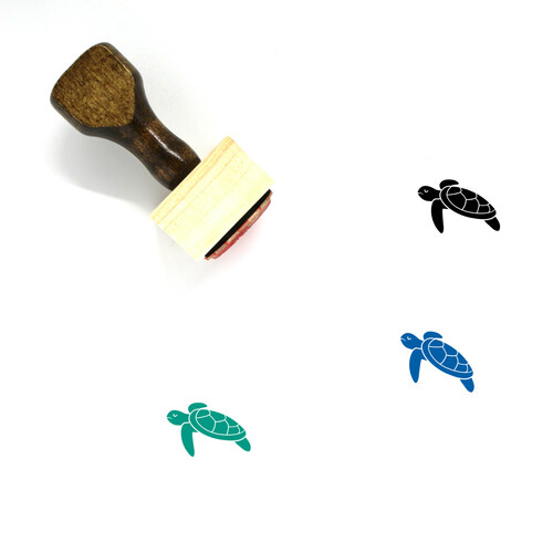 Sea Turtle Wooden Rubber Stamp No. 10