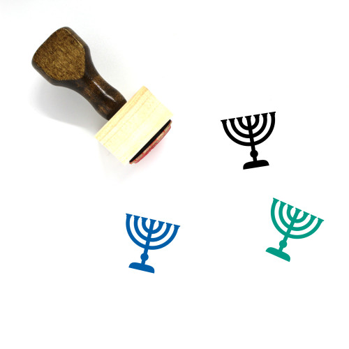 Menorah Wooden Rubber Stamp No. 56