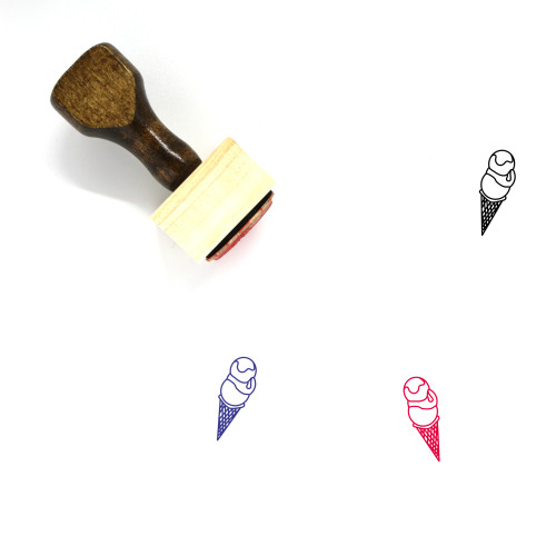 Ice Cream Cone Wooden Rubber Stamp No. 9