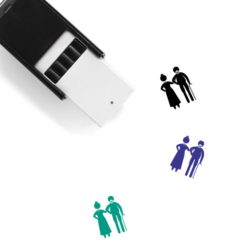 Elderly Couple Self-Inking Rubber Stamp No. 4