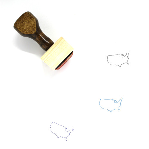 United States Map Wooden Rubber Stamp No. 11