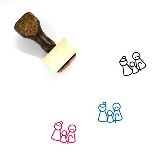 Pawn Grandparents With Grandchild Wooden Rubber Stamp No. 1