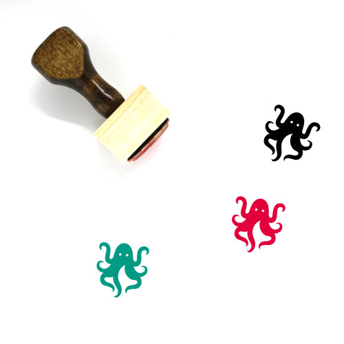 Octopus Wooden Rubber Stamp No. 27