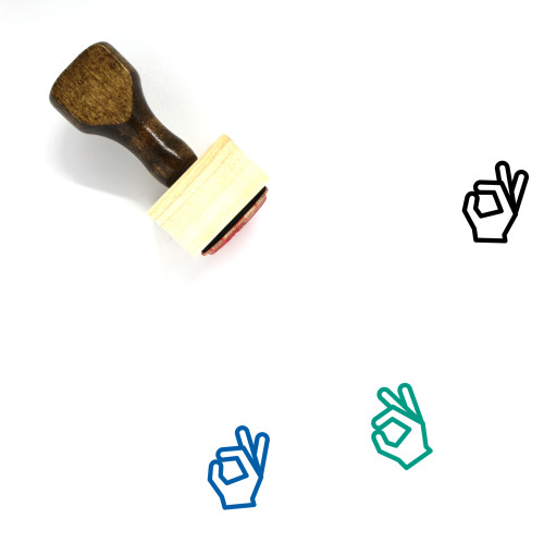 Hand Ok Wooden Rubber Stamp No. 1