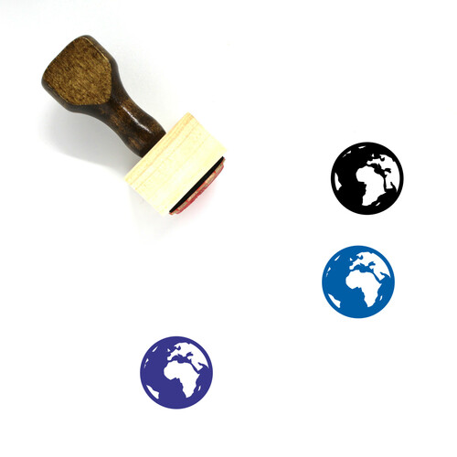 Earth Globe Wooden Rubber Stamp No. 18