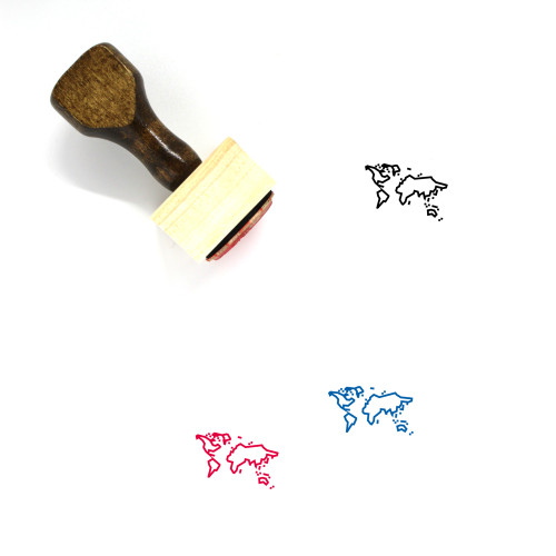 World Map Wooden Rubber Stamp No. 26