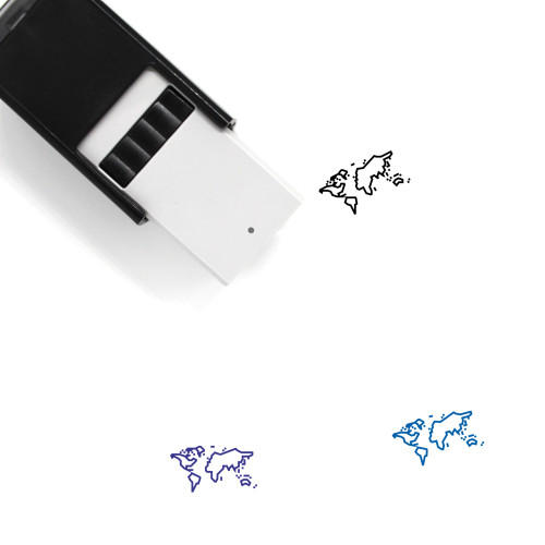 World Map Self-Inking Rubber Stamp No. 26