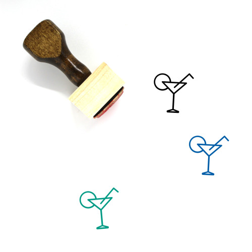 Cocktail Wooden Rubber Stamp No. 18