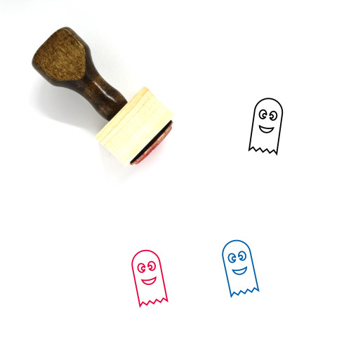 Happy Ghost Wooden Rubber Stamp No. 1