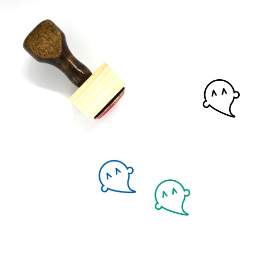 Happy Ghost Wooden Rubber Stamp No. 2